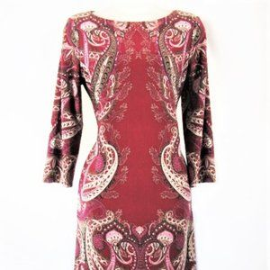 Deep Red Patterned Long Sleeve Dress London Times-